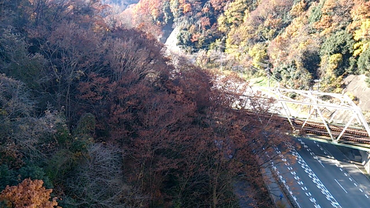 平野橋から能勢電鉄の鉄橋と国道173号線を望む