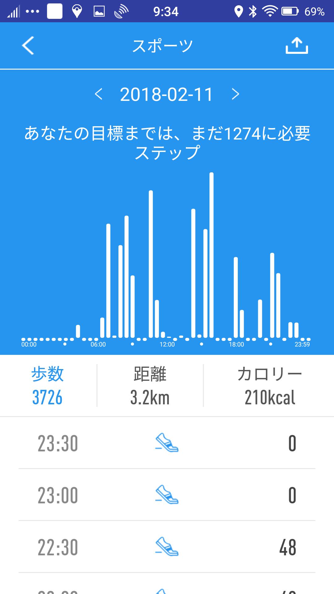 時間帯別歩数データ